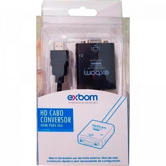 Cabo Conversor HDMI x VGA com Áudio CC-HV100 Preto EXBOM | GTC