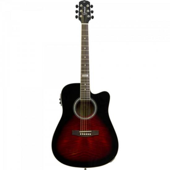Violão Eletroacústico Dreadnought Folk Cutaway Aço GF-1D CEQ Brown Red Burst GIANNINI | GTC