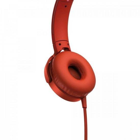 Fone de Ouvido com Microfone MDR-XB550AP/R Vermelho SONY | GTC