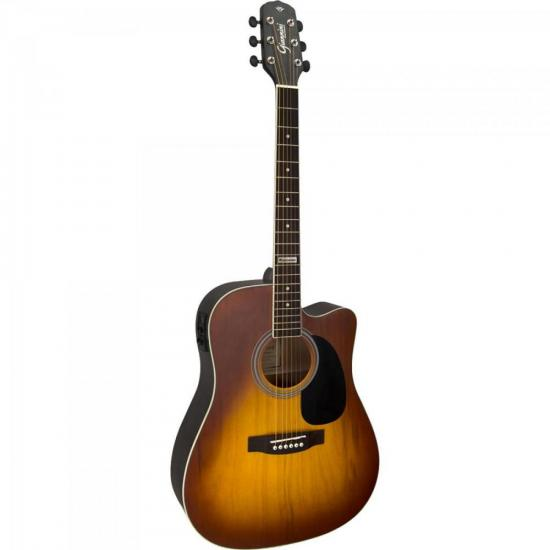 Violão Eletroacústico Dreadnought Folk Cutaway Aço GF-1D CEQ Honey Burst GIANNINI