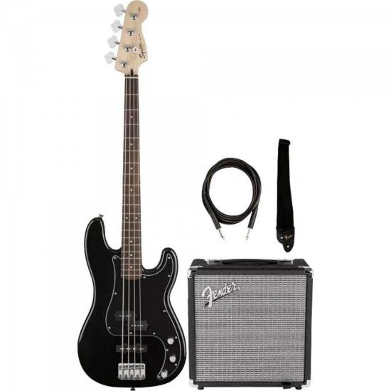 KIT Contrabaixo Affinity Preto SQUIER + Cubo Rumble 15 FENDER