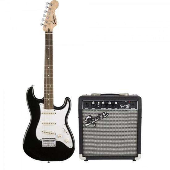 KIT Guitarra Stratocaster Affinity Preto SQUIER + Cubo Rumble 10 FENDER