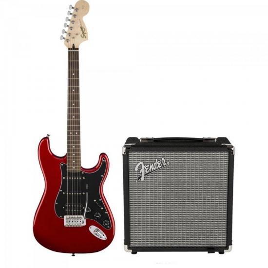 KIT Guitarra Stratocaster Affinity Vermelho SQUIER + Cubo Rumble 15 FENDER