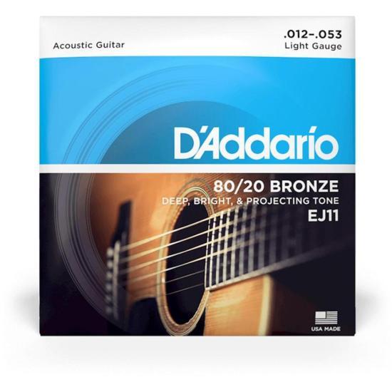 Encordoamento Violão Aço LIGH EJ11 0.12 80/20 Bronze D'ADDARIO