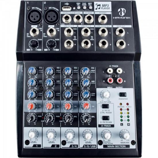 MESA DE SOM HAYONIK HMX-108 USB 8 CANAIS