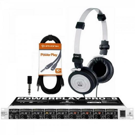 Kit Amplificador Power Play HA8000 BEHRINGER + Fones + Cabos + Adaptadores