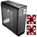KIT 1 Gabinete Gamer AERO-500 WINDOW Preto AEROCOOL + 2 Coolers Fan 12cm  RED LED Vermelho AEROCOOL
