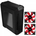 KIT 1 Gabinete Gamer LS-5200 Preto AEROCOOL + 2 Coolers Fan 12cm  RED LED Vermelho AEROCOOL