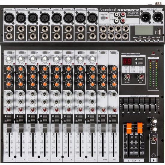 Mesa de Som 8 Canais USB SX1202FX Preto SOUNDCRAFT