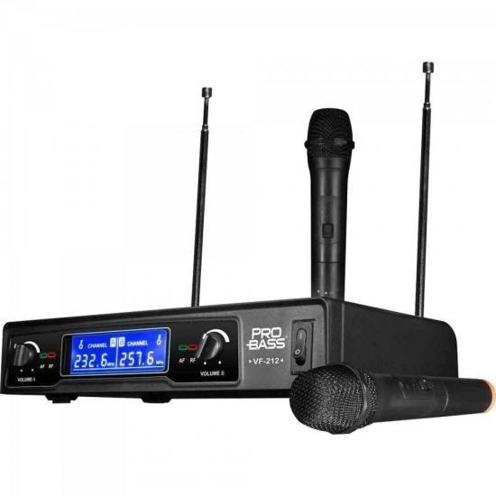 Microfone sem Fio Duplo VHF VF-212 PROBASS